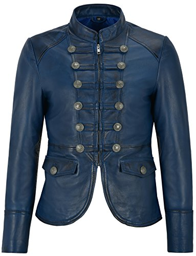 Damen Lederjacke Blau Militär Victory Parade Style Real Soft Lammfell 8976 (EU 42 / UK 16)