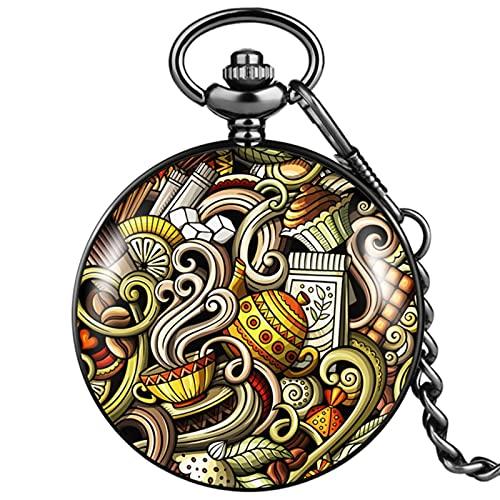 Negro Moda Graffiti Patrón Reloj de Bolsillo de Cuarzo Suave Steampunk Colgante 30CM Regalo de Cadena Relojes Vintage para Hombres Mujeres Reloj de Bolsillo Amigo 6, a