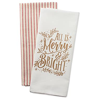 DII Cotton Christmas Holiday Dish Towels, 18x28  Set of 2, Decorative Oversized Kitchen Towels, Perfect Home and Kitchen Gift-Merry & Bright