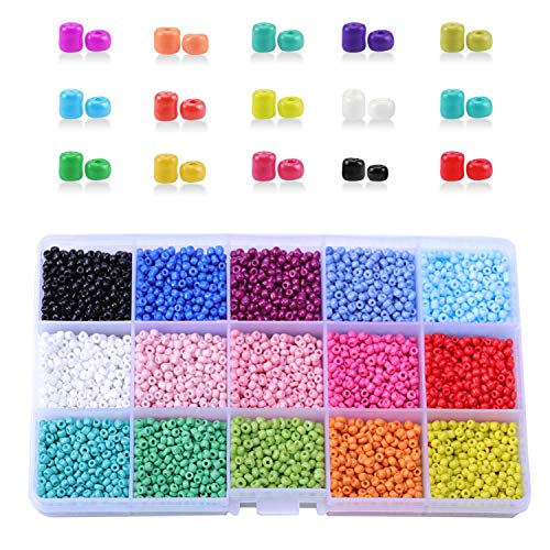 Perline Colorate, 15 Colori Perline di Vetro 3mm Mini Glass Beads Set Perline Distanziatori per Fare Braccialetti Collane Gioielli Bigiotteria DIY Regalo(Circa 7500 Pezzi)