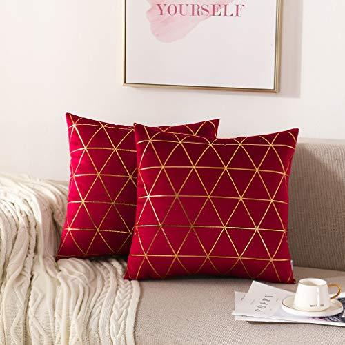 NordECO HOME Kissenbezüge, 2 Stück, quadratisch, dekorative Kissenbezüge für Sofa, Couch Bett, Heimdekoration, 18 x 18 cm 2 Pieces, 18' x18' Burgunderrot/Gold