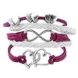 LovelyJewelry Leather Wrap Bracelets Girls Double Hearts Infinity Rope Wristband Bracelets (Rose Pink)