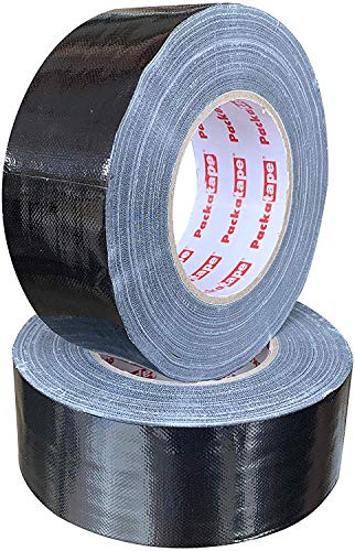 Packatape Black Duct Cloth Tape 50mm x 50 Meters Super Sticky Extra Strong (2 Pack)