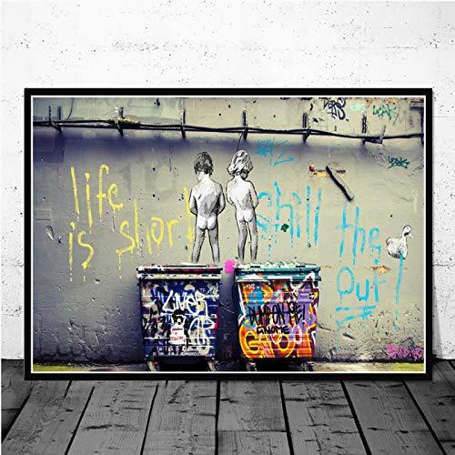 Keliour Das Leben ist kurz Graffiti Street Art Poster und Drucke Jungen pinkeln abstrakte Wandkunst Bild auf Leinwand Malerei Wohnkultur 60x80cm / 23,6