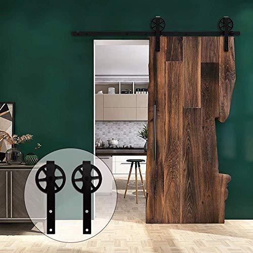6FT/182cm Binario per Porta Scorrevole Kit Accessori per per Singolo Porta Scorrevole in Stile Rustico, Nero …
