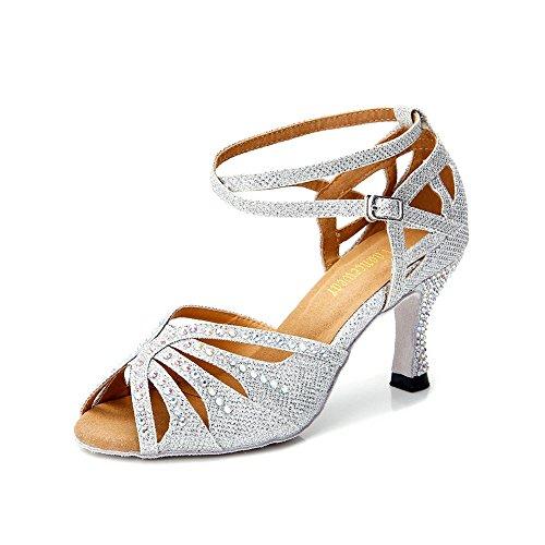 TTdancewear Women Silver Rhinestone Ballroom Dance Shoes Latin Salsa Performance Dance Shoes 8.5 Silver-2.5inch Heels