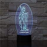 SCNYCUL 3D LED lámpara mesa luz nocturna Lanza Apóstol Santo Tomás16 colors niño regalo de fiesta de Navidad decoración hogar