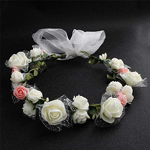 XIXISA Mujeres Bisel Flores Cabeza Niñas Flor Corona Corona Boda Decoración Nupcial Accesorios Cabello Doble Espuma Rosa Floral Diadema