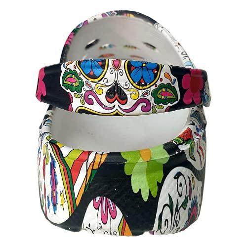 Zuecos Sanitarios Mujer de Trabajo Cómodos de Goma EVA Laboral Enfermera y Hostelería con Diseño Dibujos Hidroimpresión Calaveras mejicanas Negras. Talla 37. Talonera en el Mismo diseño