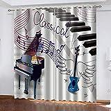 LGYJAL Cortinas Opacas 3D Piano, Guitarra, Partituras, Cortina De Aislamiento Súper Suave para Sala De Estar, Dormitorio 250(H) x140(An) cmx2