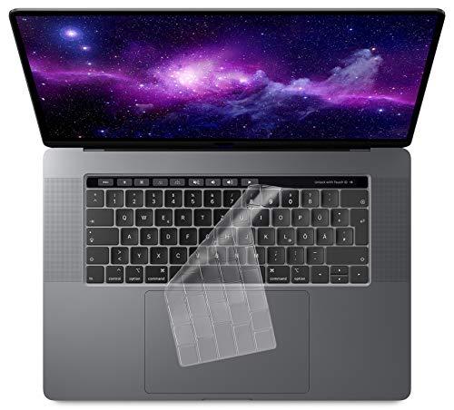 MyGadget Funda Teclado para Apple MacBook 13, 15' (desde 2016, Touchbar) - Skin Protector Transparente Ultra Delgado - Keyboard Cover de Silicona