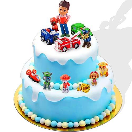 Adornos para Tartas,12 Piezas Cake Topper de Patrulla de Perros Pata Minifiguras Topper de Tarta Decoración para Niños S Decoración de Fiestas, Decoración de Mesa, Figuras Coleccionables (A)