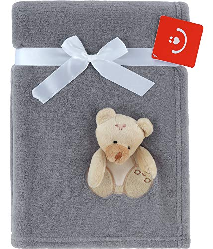 Be Mammy Kuschlige Babydecke Kuschel Decke Tagesdecke mit 3D Applikation 76 x 102 cm KCSN-15 (Grau - Bär)
