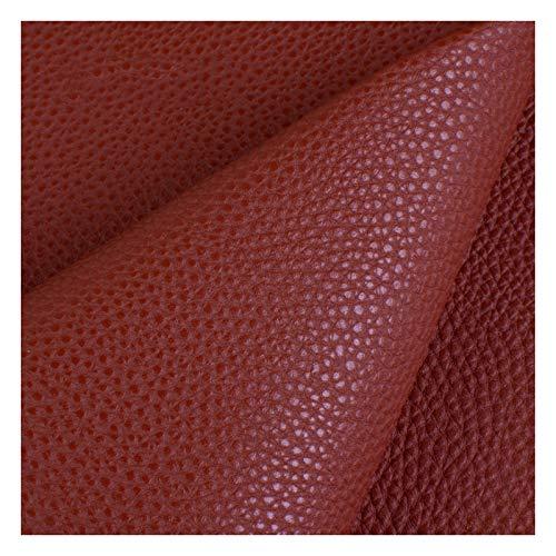 Kunstleer Kunstleer Kunstleer Litchi Stof Premium Soft Feel Materiaal Vinyl Doek Stoffering Breedte 138 per 1 Meter X 138cm (Kleur: Bruin)