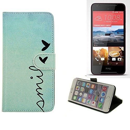 K-S-Trade Schutzhülle Für HTC Desire 628 Hülle Wallet Hülle Flip Cover Tasche Bookstyle Etui Handyhülle ''Smile'' Türkis Standfunktion Kameraschutz (1Stk)