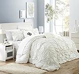 Chic Home 10 Piece Halpert Floral Pinch Pleat Ruffled Designer Embellished Comforter Set, King, White with 4 Piece White Sheet Set
