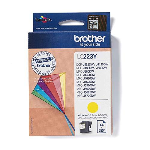 Brother LC223Y Original Tintenpatrone LC-223Y gelb (für Brother DCP-J562DW, DCP-J4120DW, MFC-J480DW, -J680DW, -880DW, -J4420DW, -J4620DW, -J4625DW, -J5320DW, -J5620DW, -J5625DW, -J5720DW)
