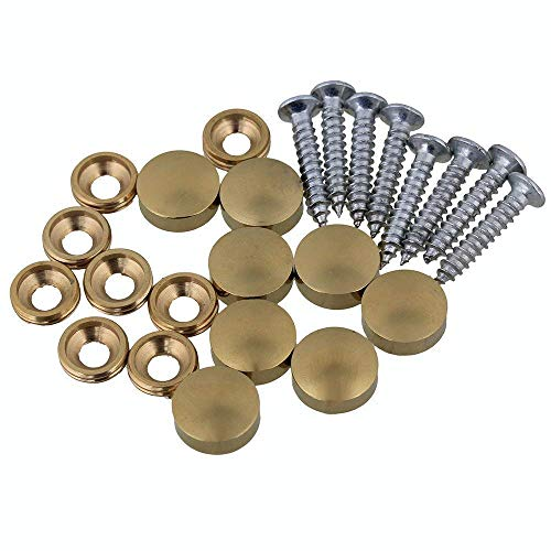 8 Pcs 12mm Dia Brass Mirror Screws with Decorative Cap Cover Nails,Golden Finish …