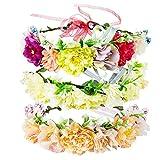 Diealles Shine 3 Pcs Couronne de Fleurs Femme, Bandeaux Floraison Couronnes de Fleurs avec Réglable Ruban pour Mariage Festivals, Multicolore A