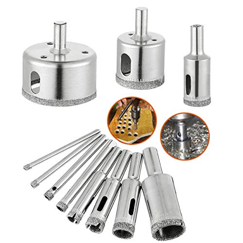 metagio 10 Packs Diamond Drill Bit, Hole Saw Drill Bit Tools Set for Glass Tile Ceramic, Hollow Core Drill Bits Cutter with Diamond Coating, Carbon Steel 3-50mm