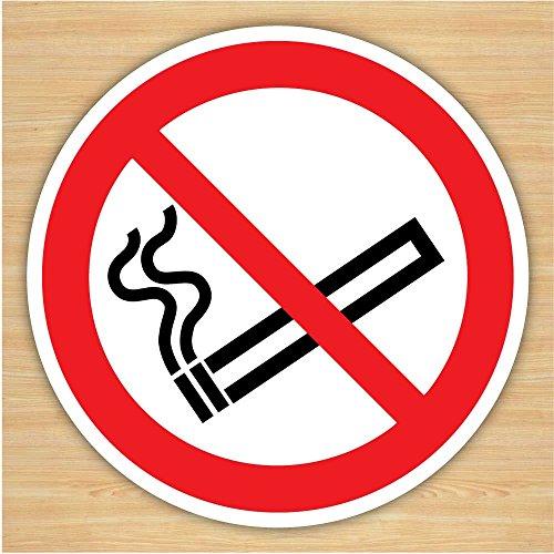 Lot de 2 panneaux d'interdiction de fumer (75 mm) autocollants en vinyle blanc pour voiture, taxi, bus, tableau de bord