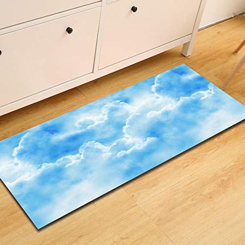 slipvaste slip, loper tapijten voor wasmachine, kamer, slaapkamer, keuken, woonkamer, hal, modern print, polyester, machinewas lange tapijten, natuur, landschap, Light Blue Cloud 24 × 36 inch (60 × 90 cm)