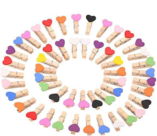 LIZHIGE 100 Herz Wäscheklammer Holz Mini klein Absofine Holzklammern 3,0cm Foto Handwerk Clips Deko Patchwork Klammern Dekoklammern Holzwäscheklammern Zierklammern in Weiss … (Farbe)