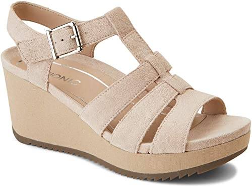 Vionic damen& 39;s Hoola Tawny T-Strap Wedge - Ladies Platform Sandal with Concealed Orthotic Support