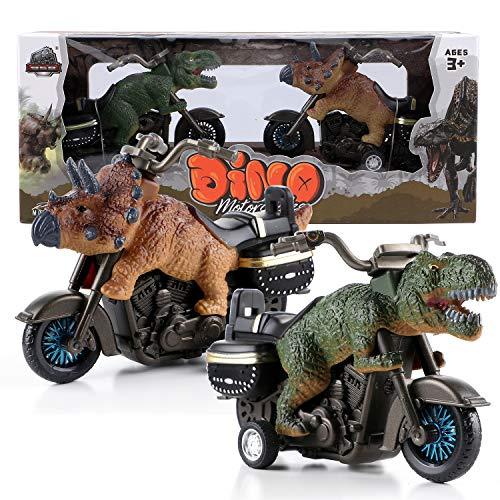 Toyssa 2Stk. Dinosaurier Spielzeug Dinosaurier Motorradspielzeug Spielfahrzeuge T-Rex Triceratops Auto Spielzeug Dino-Spielzeug Geschenk für Kinder Jungen 3 4 5 6 7 8
