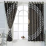 Greek Key Window Curtain for Living Room Grecian Fret and Wave Pattern on Dark Background Antique Retro Swirls Energy Saving Grommet Curtains for Living Room 52x72 Inch