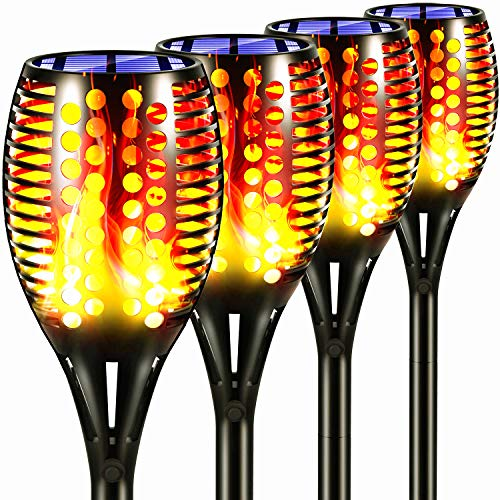 Topmante Upgraded Solar Torch Lights, Super Bright LED Waterproof Flickering Dancing Flames Torches Light Outdoor Solar Landscape Decoration Lighting Dusk to Dawn Auto On/Off Path Lamp (4 Pack-Circle)