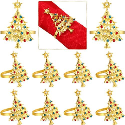 Set of 12 Christmas Tree Napkin Rings Xmas Napkin Rings Holder Buckle Set Christmas Rhinestone Diamond Metal Alloy Napkin Ring Buckle for Christmas Wedding Thanksgiving Dinner Table Decor (Gold)