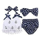 GPQHSM Bikini La niña de Bikini Ancla Tops + Lunares de 3 Piezas Traje de baño Halter del bañador Breves Tankini Trajes Set 0-24 M (Size : 0 to 6 Months)