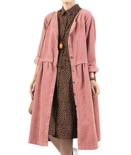 YESNO Women Casual Loose Plain Button Down Corduroy Dress A-Line Hem Pleated Waist Long Sleeve Pockets LF9