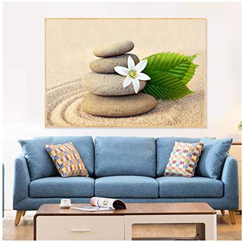 Nbqwdd Cuadro de Pared para Sala de Estar Cuadros Impresión HD Orquídea Zen SPA Piedra Velas de bambú Pintura al óleo sobre Lienzo Art Decoracion -60x90cmx1 Sin Marco
