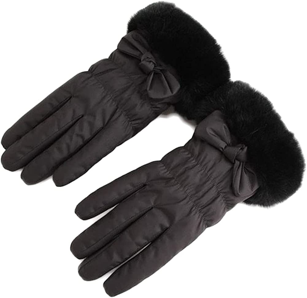 Winter Gloves For Women Fluffy Waterproof Windproof Warm Insulate Mitten Cute Bowknot Cycling Running Work Cold Weather