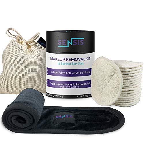 Sensis Reusable Makeup Remover Pads - Bamboo Terry Cotton Cleansing Kit -...