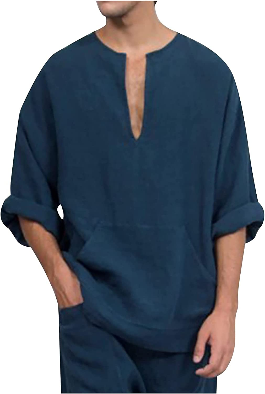 2021 Mens Mid Sleeve Cotton Linen Shirts Casual V-Neck Solid Loose T-Shirt Fashion Tops Blouse