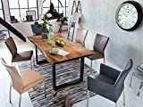 SAM Baumkantentisch Quarto 200x100 cm, Akazienholz massiv + nussbaumfarben, echte Baumkante, Esszimmertisch mit schwarz lackierten Beinen, jeder Esstisch EIN Unikat - 3