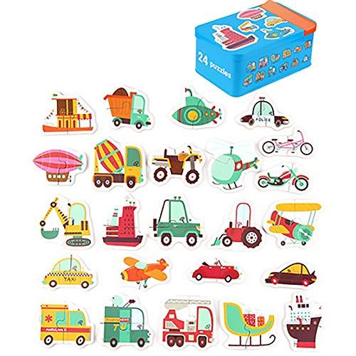 XYW Jigsaw   del bebé niños de Madera de Aprendizaje Juguetes educativos Juguetes Animal Kids Dinosaurio de Madera del Coche Rompecabezas Juego Jigsaw Juego (Color : 23 Cars)