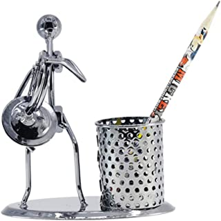 Fashion Pen Holder/Personality Creative Decoration Gift Music Iron Man Model Band/Musical Instrument Office Weight: 0.26kg, Material: Iron Size: 13cm*12cm Interesting (Color : Clear)