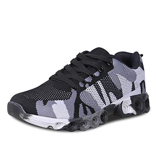 LUDEY Unisex Damen Herren Camo Atmungsaktiv Laufschuhe Retwin Turnschuhe Straßenlaufschuhe Sneaker Grau 44 EU