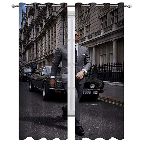 Cortinas bloqueadoras de calor No Time to Die 007 Artwork Character Street Suit arquitecture telón de fondo cortinas (140 x 183 cm)