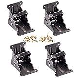 Magiin Paquete de 4 soportes plegables para patas de mesa de bloqueo para bisagras plegables de acero de bronce oscuro con tornillos