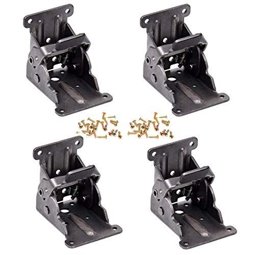 Magiin Paquete de 4 soportes plegables para patas de mesa de bloqueo para bisagras plegables de acero de bronce oscuro...