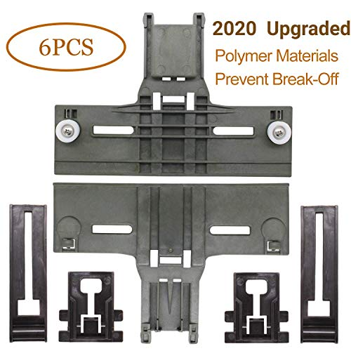 UPGRADED W10350376 Dishwasher Top Rack Adjuster & W10195839 Dishwasher Rack Adjuster & W10195840 Dishwasher Positioner Fit For Whirlpool Kenmore - Redesigned for Heavy Duty Wheel Support