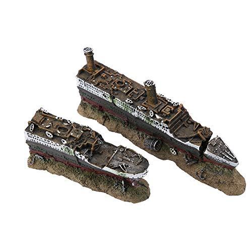 Pbzydu Decoración del Barco naufragado perdido del Acuario Titanic, pecera Coloridos vívidos paisajes submarinos simulación Resina naufragio Adornos