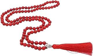 Mala Beads 108 Boho Necklaces Meditation Prayer Beads for Women Men Gem Stones Hand Knotted Beaded Tassel Necklace