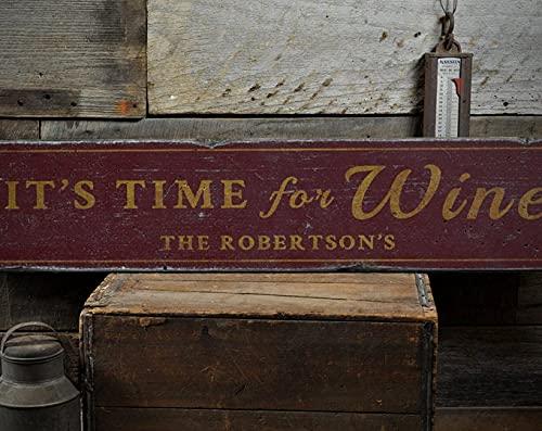 free brand Señal de madera de vino, con nombre de familia personalizable, para decoración del hogar, regalo para amantes del vino, letrero rústico hecho a mano para la familia