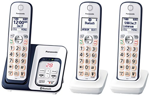 Panasonic Link2Cell Bluetooth Cordless Phone with Voice Assist and Answering Machine - 3 Handsets, Teléfono Triple- KX-TGD563M, Azul Marin